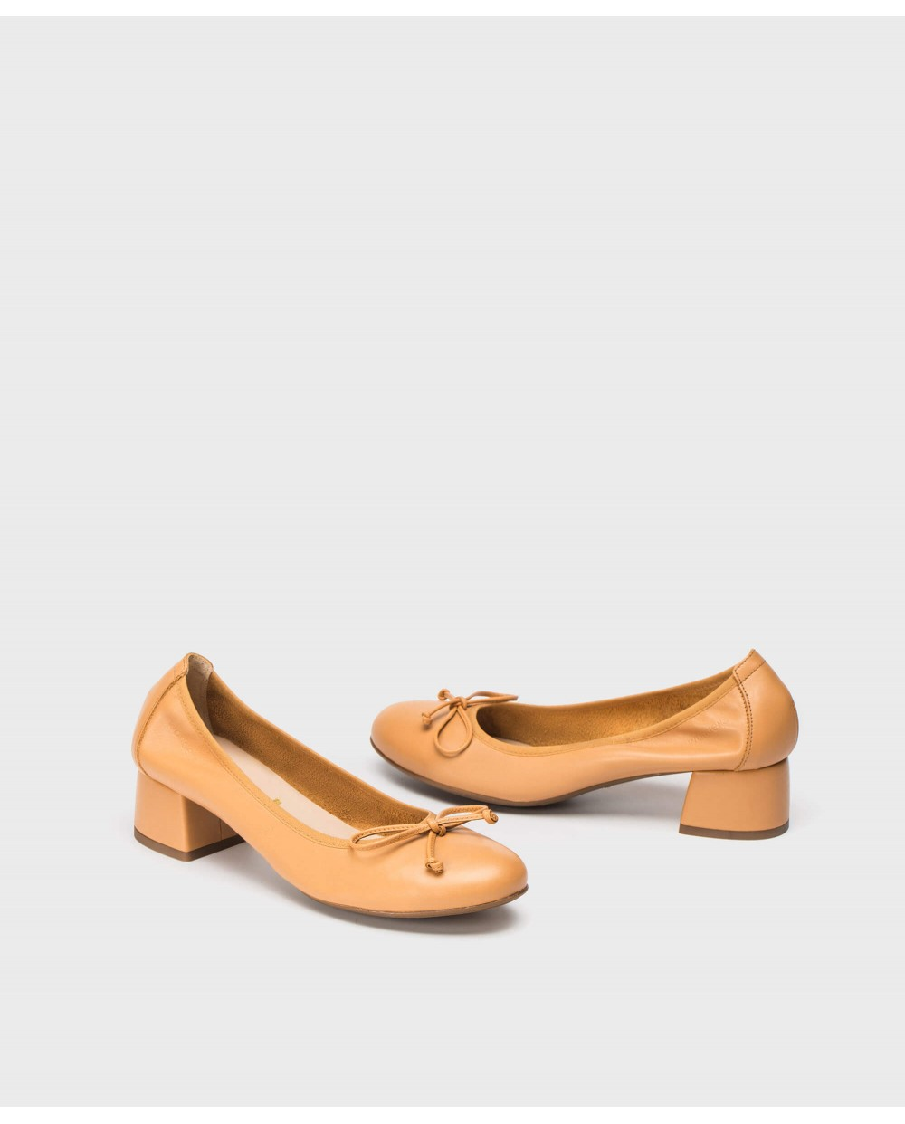 Wonders-Flat Shoes-High heeled ballet pump with bow