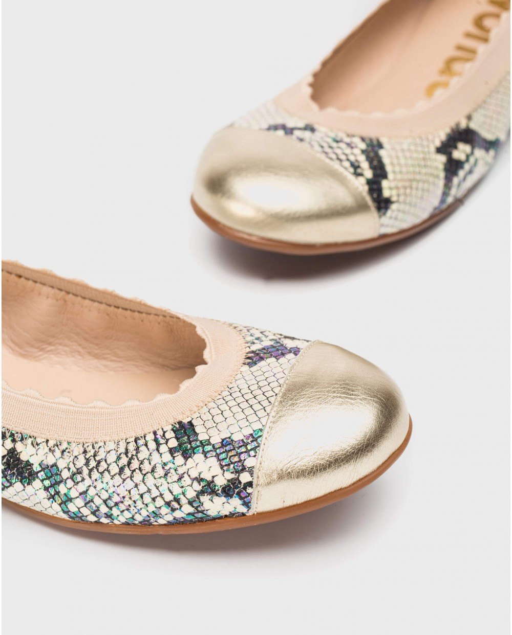 Wonders-Flat Shoes-Ballet pumps with metallic toe cap