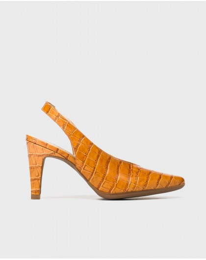 Wonders-Heels-Backless Mock-croc shoe