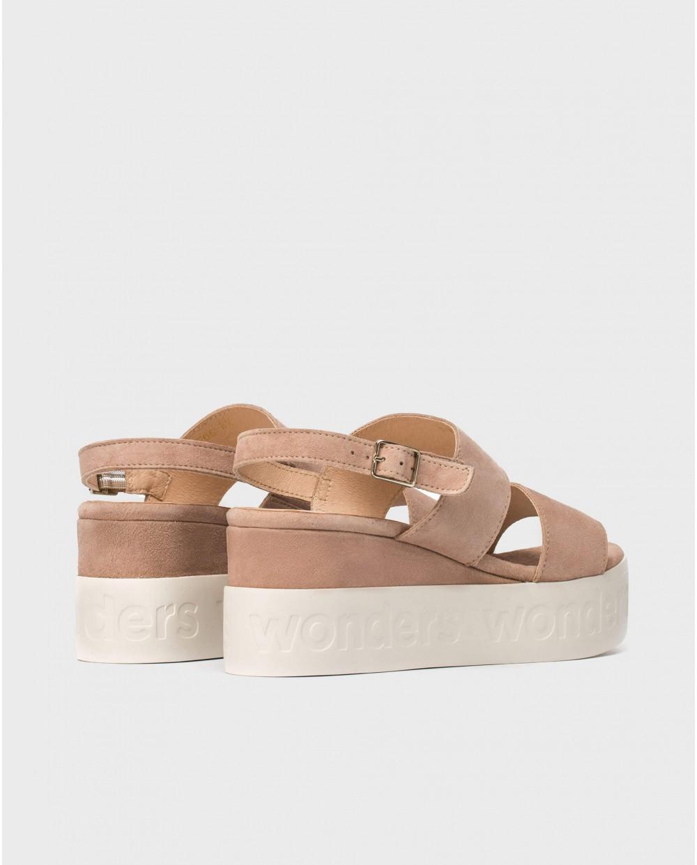 Wonders-Sandals-Platform sandal with double strap.