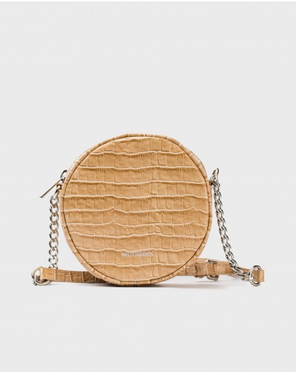 Wonders-Bolsos-Bolso circular bandolera piel coco