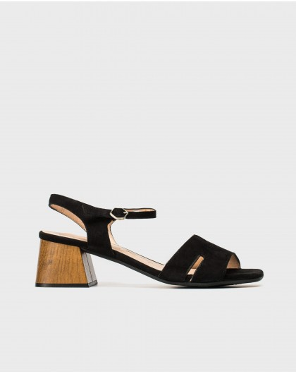 Wonders-Sandals-Wood effect leather sandal