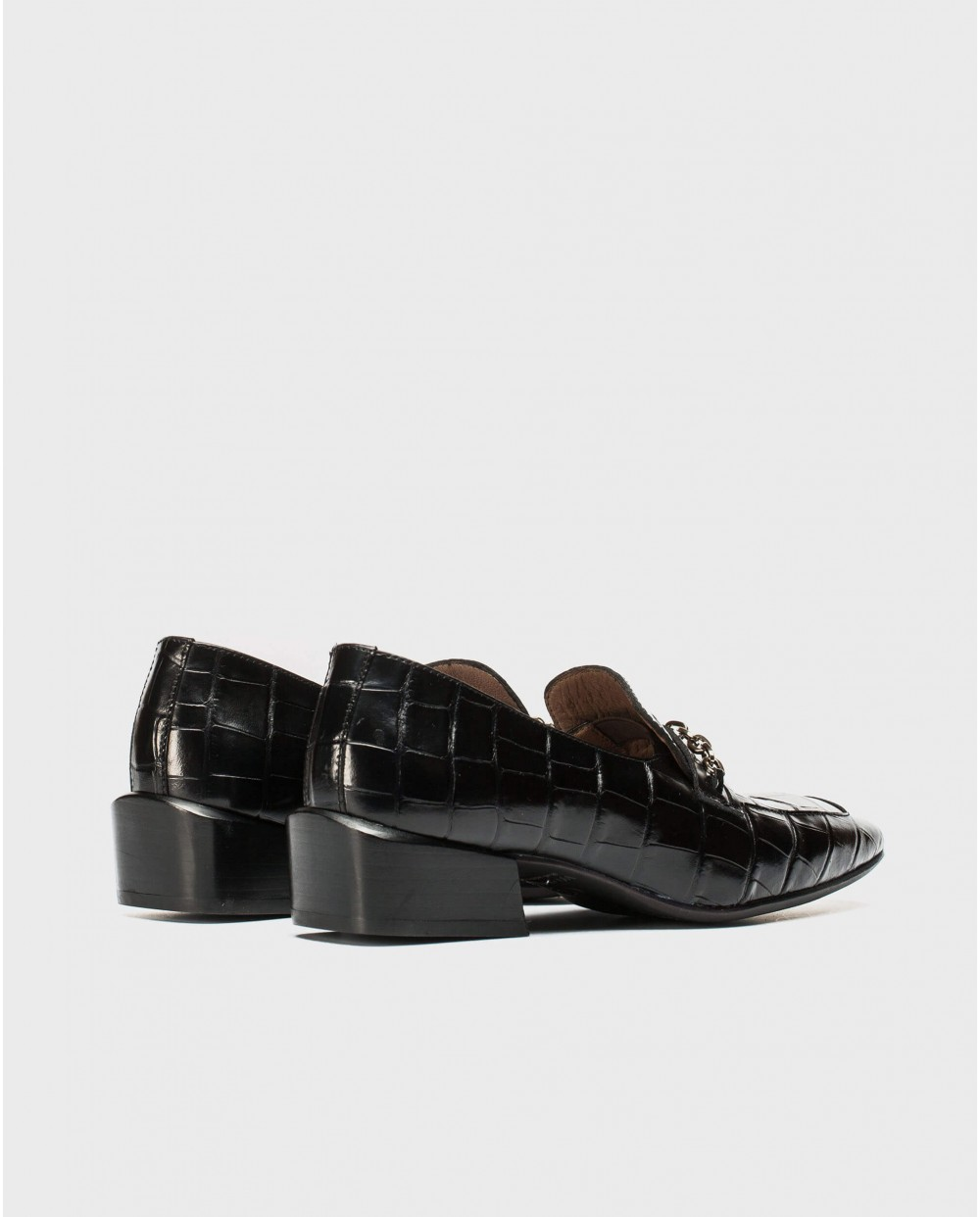 Wonders-Flat Shoes-Crocodile and chain moccasin