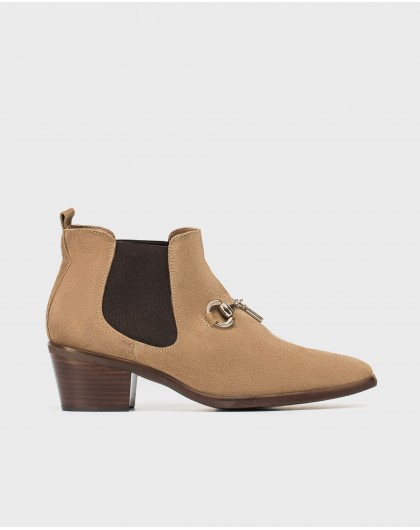 Wonders-Ankle Boots-Suede ankle boot with loop