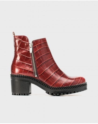 Wonders-Outlet-Biker ankle boot with lateral zip