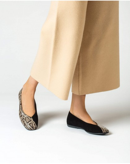 Wonders-Outlet-Ballet pump in a combination of animal print