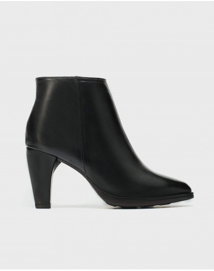 high heeled leather ankle boot