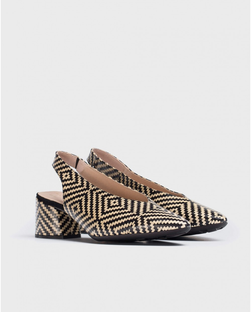 Wonders-Heels-High heeled braided leather shoe