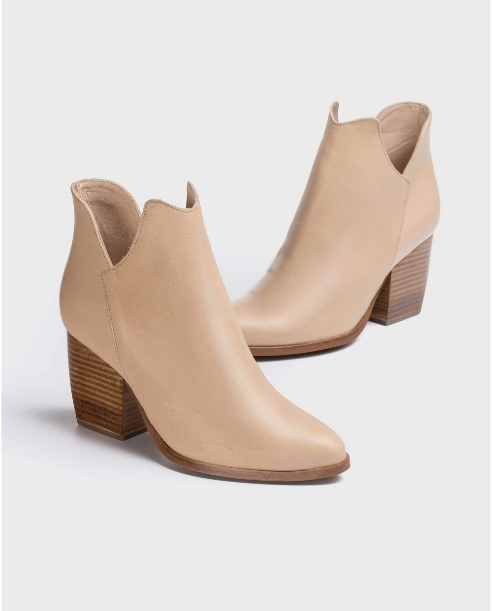Wonders-Ankle Boots-Leather cut out cowboy ankle boot