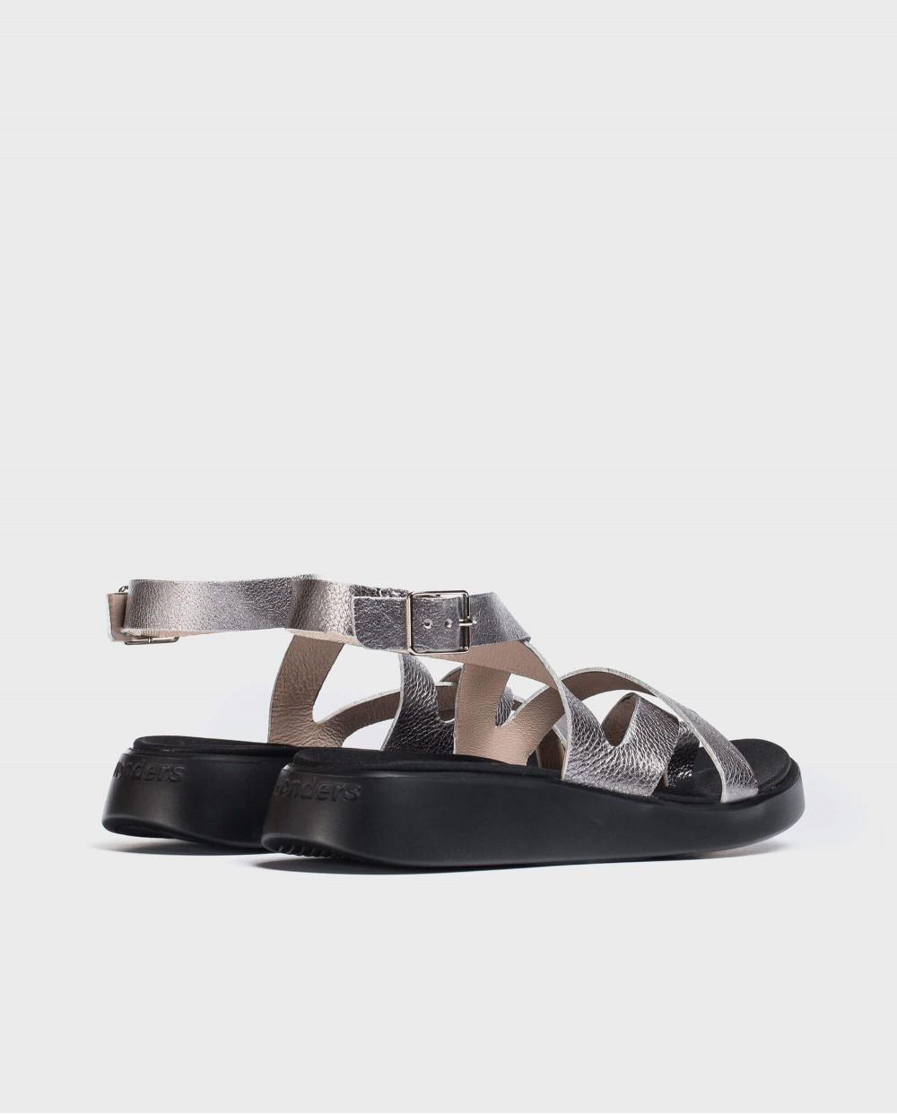 Wonders-Sandals-Metallic leather toe post sandal