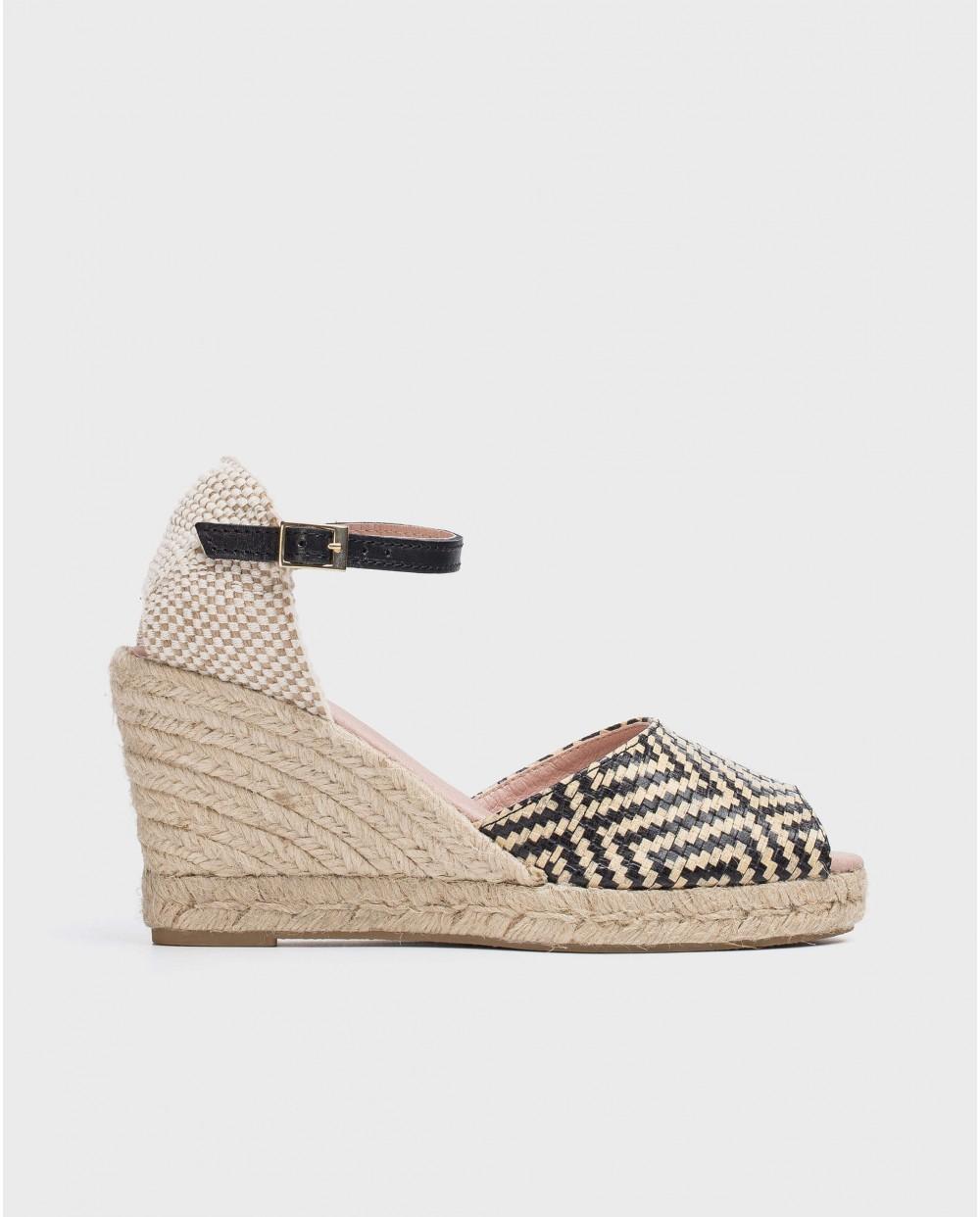 Wonders-Wedges-Jute peep toe sandal