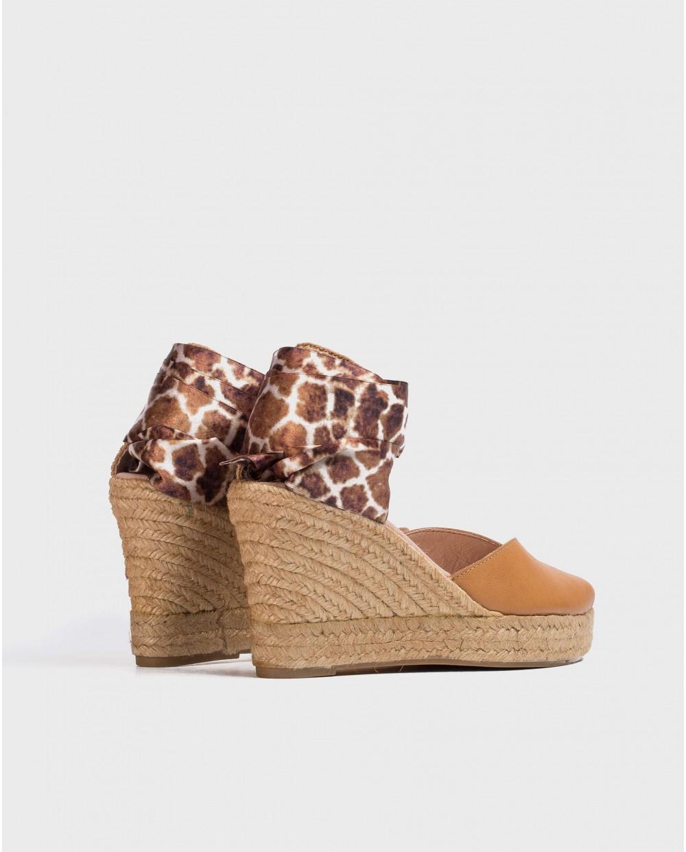 Wonders-Wedges-Jute sandal with straps