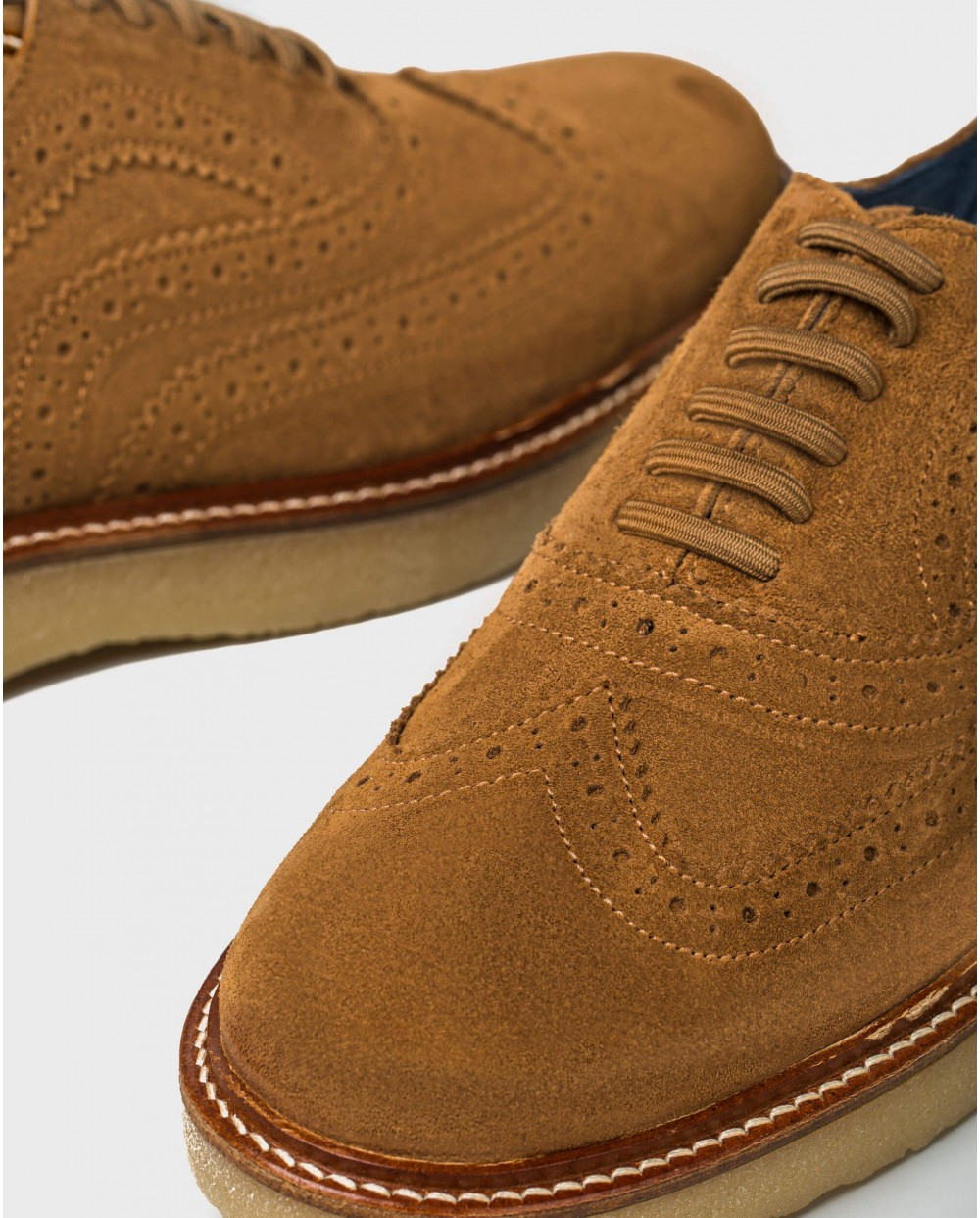 Wonders-Men-Leather shoe with brogue detail