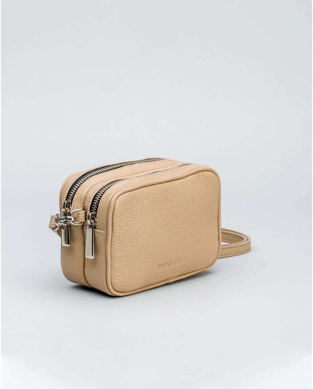 Mini handbag in pebble leather