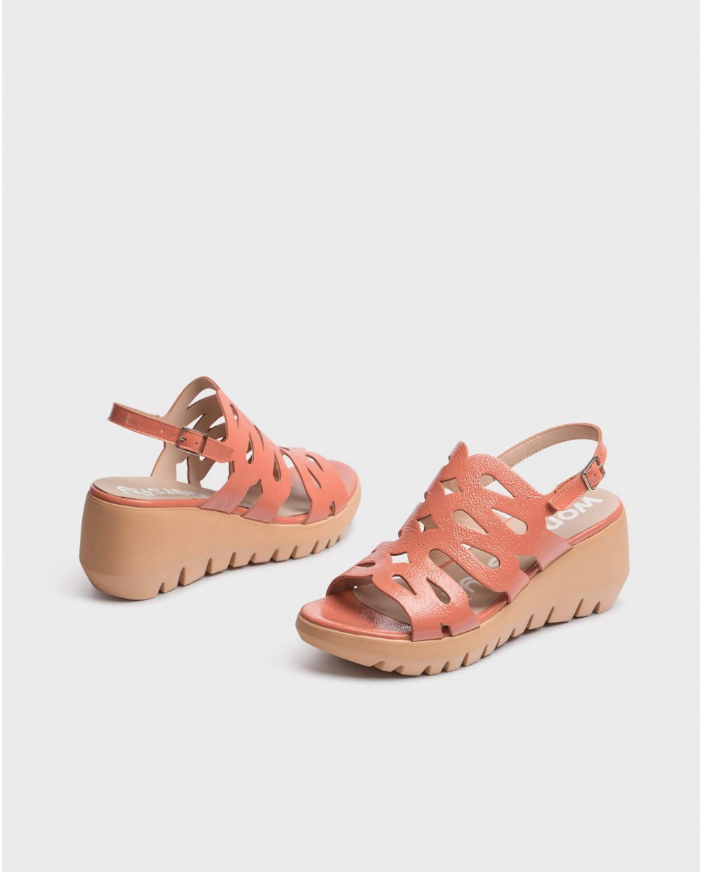 Wonders-Wedges-Sandal with wave straps