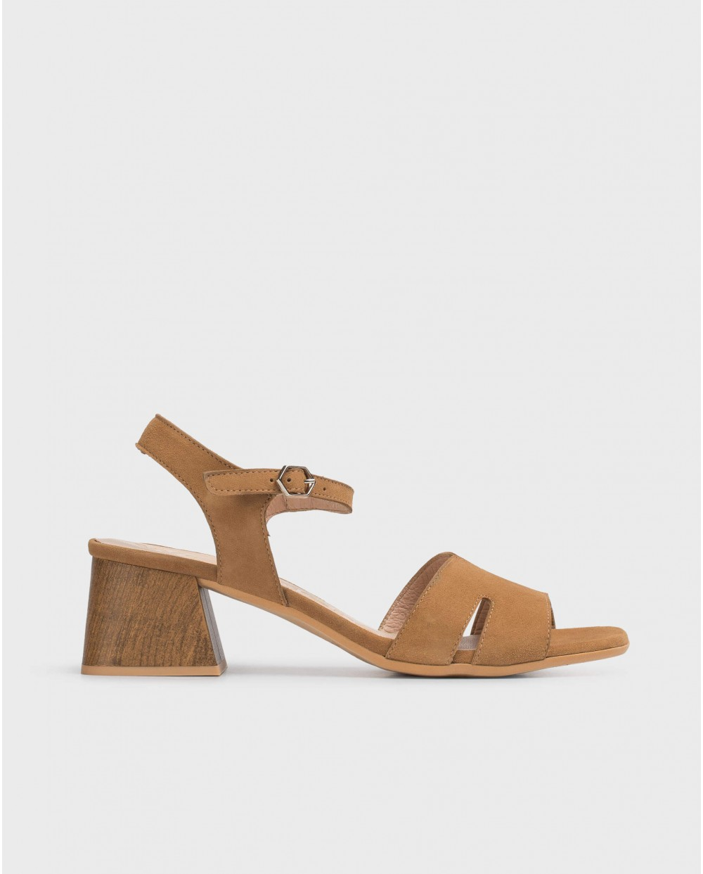 Wood effect leather sandal
