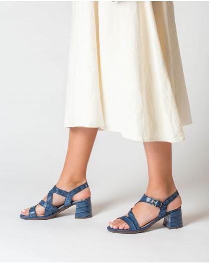 High heeled mock croc sandal