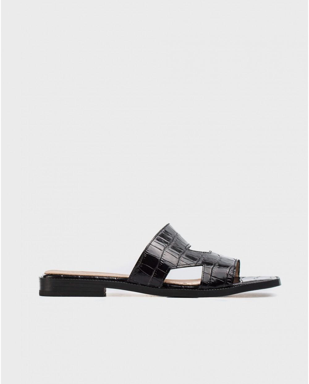 Wonders-Women-Leather flat sandal with side cutouts