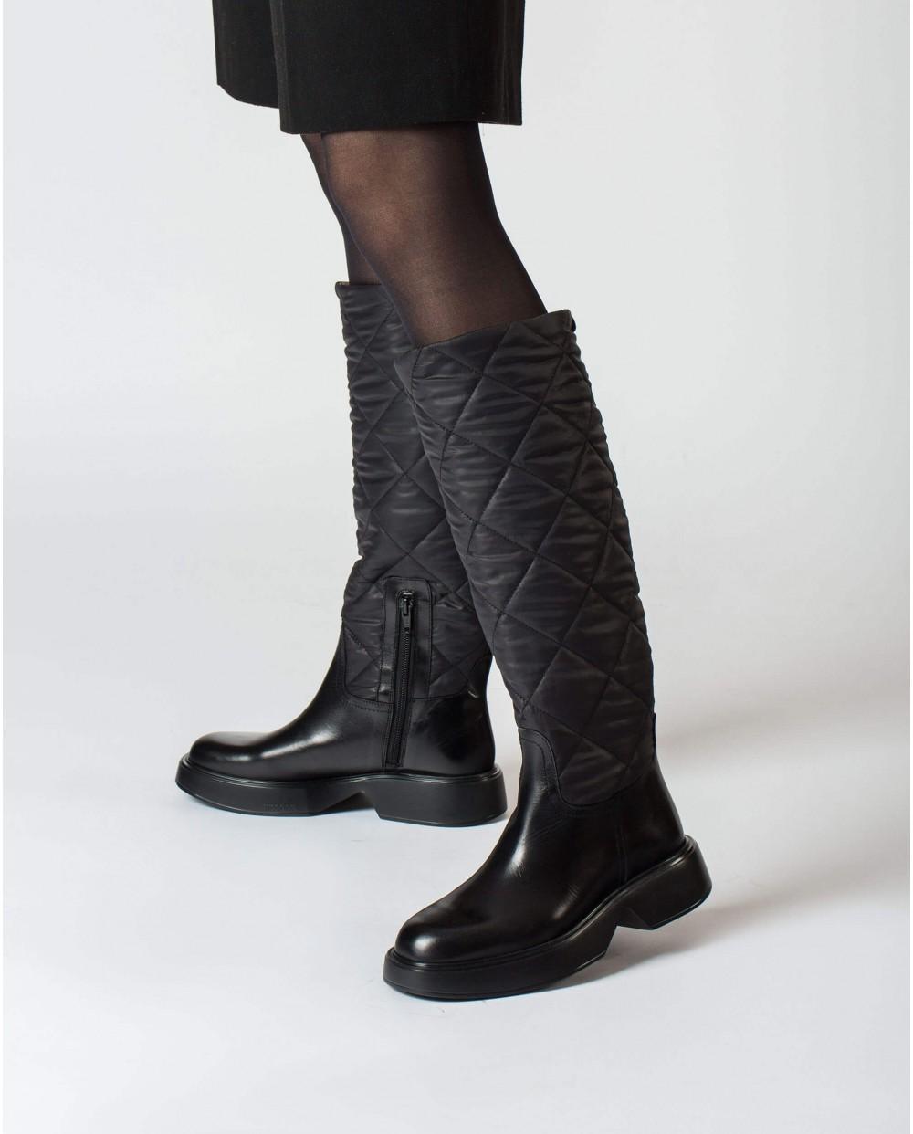 Wonders-Boots-Velar Black Padded boot