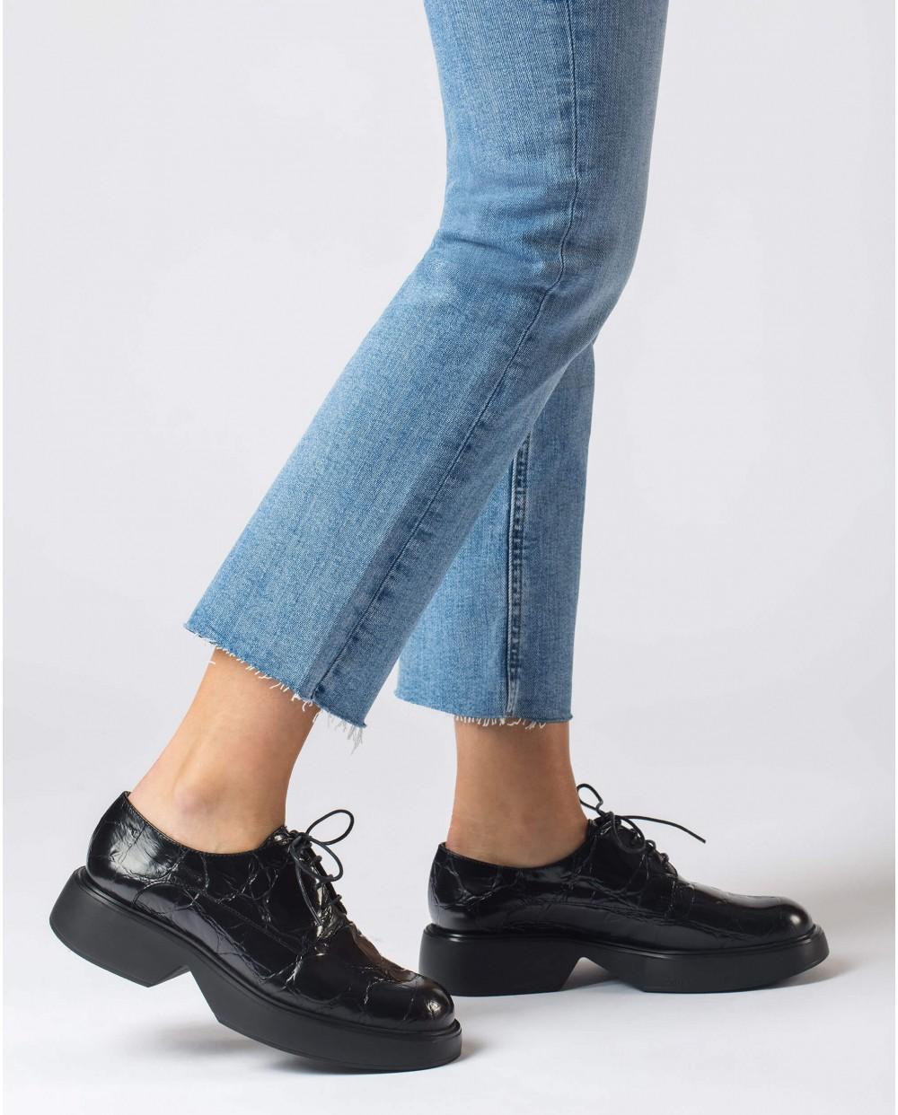 Wonders-Flat Shoes-Black Sonic Blucher
