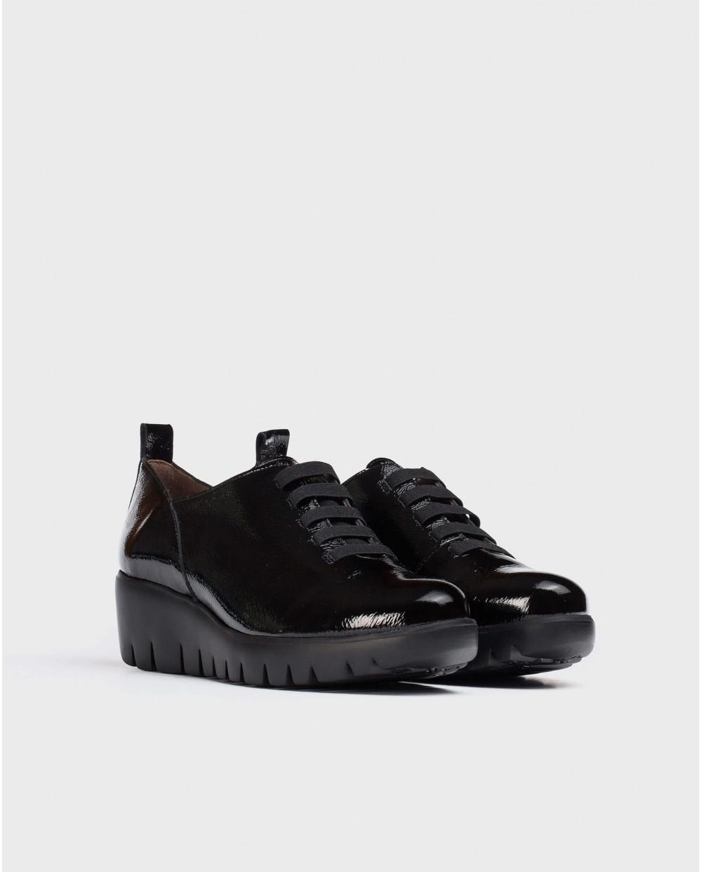 Wonders-Wedges-Soft Black patent leather Sneaker