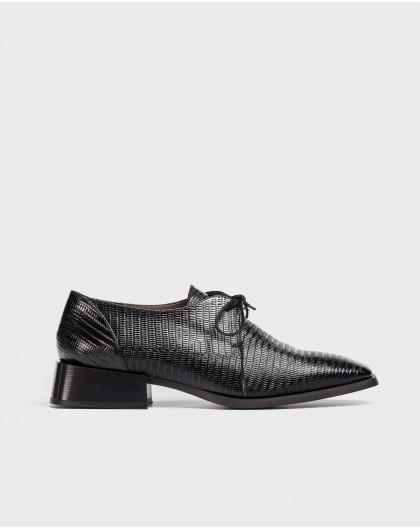 Wonders-Zapatos planos-Blucher Lace Negro
