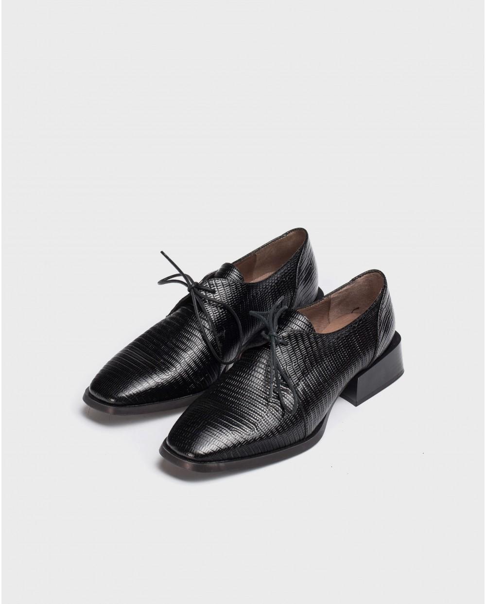 Wonders-Flat Shoes-Black Lace Blucher