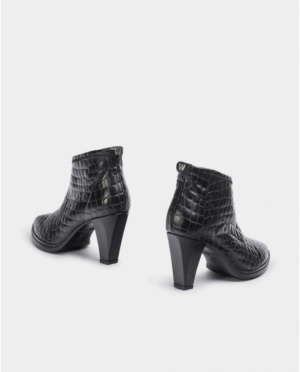 Wonders-Ankle Boots-Black Moc-crock Elastic Ankle Boot