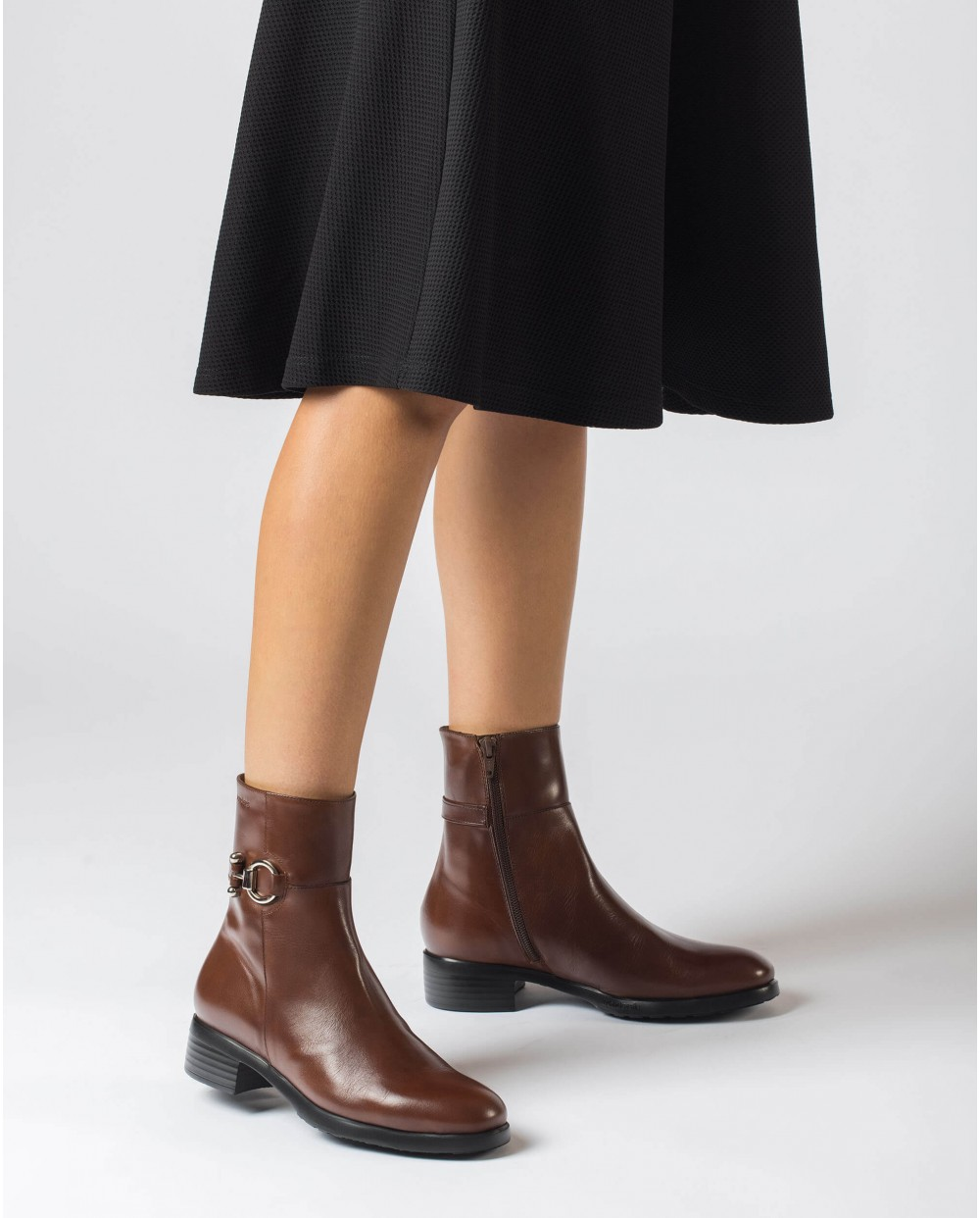Wonders-Ankle Boots-Brown Dot Ankle Boot