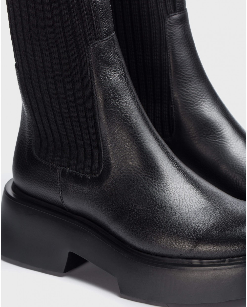 Wonders-Ankle Boots-Black sock ankle Boot