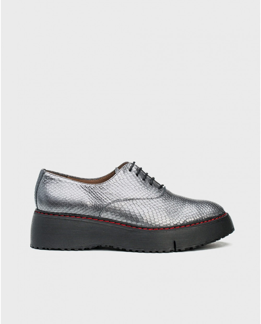 Wonders-Flat Shoes-leather snake print sneaker with wedge