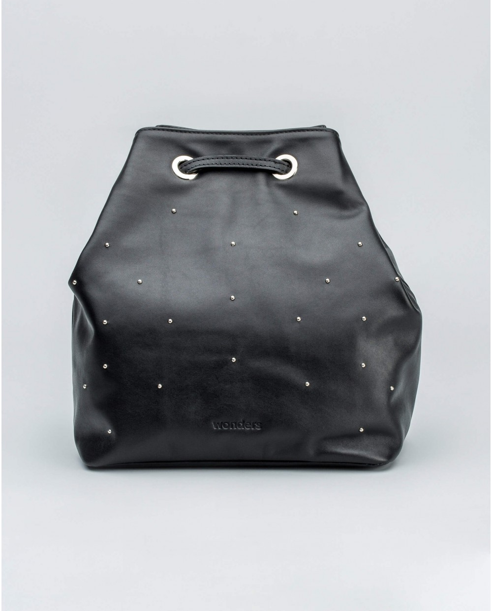 Wonders-Bags-Leather backpack with metallic detail