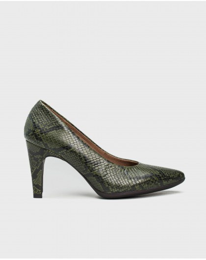 Wonders-Heels-Snake print court shoe