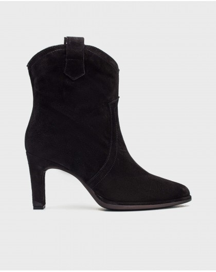 Wonders-Ankle Boots-High suede leather ankle boot