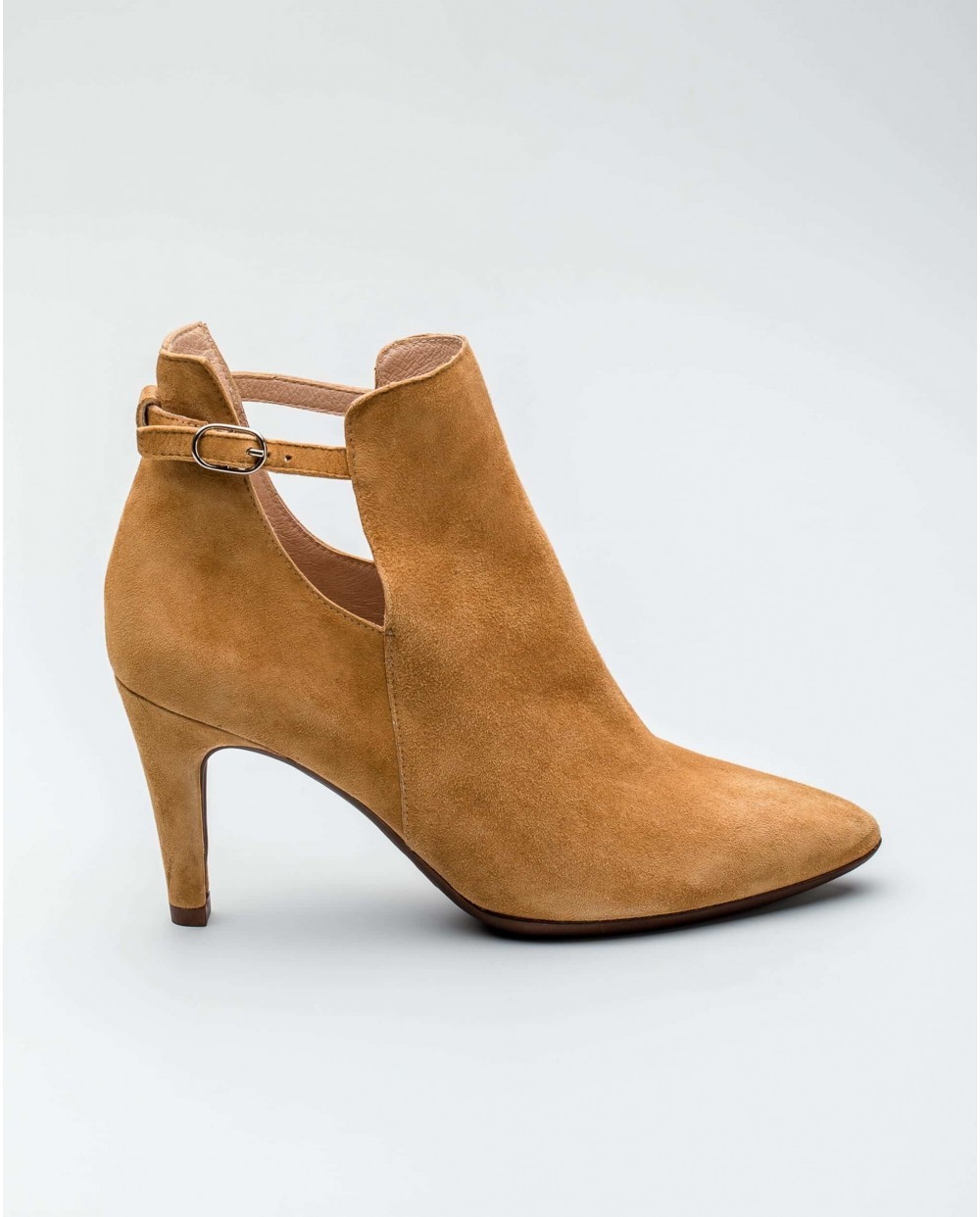 Wonders-Ankle Boots-Suede leather high heeled ankle boot