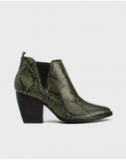 Wonders-Ankle Boots-Animal print cowboy ankle boot