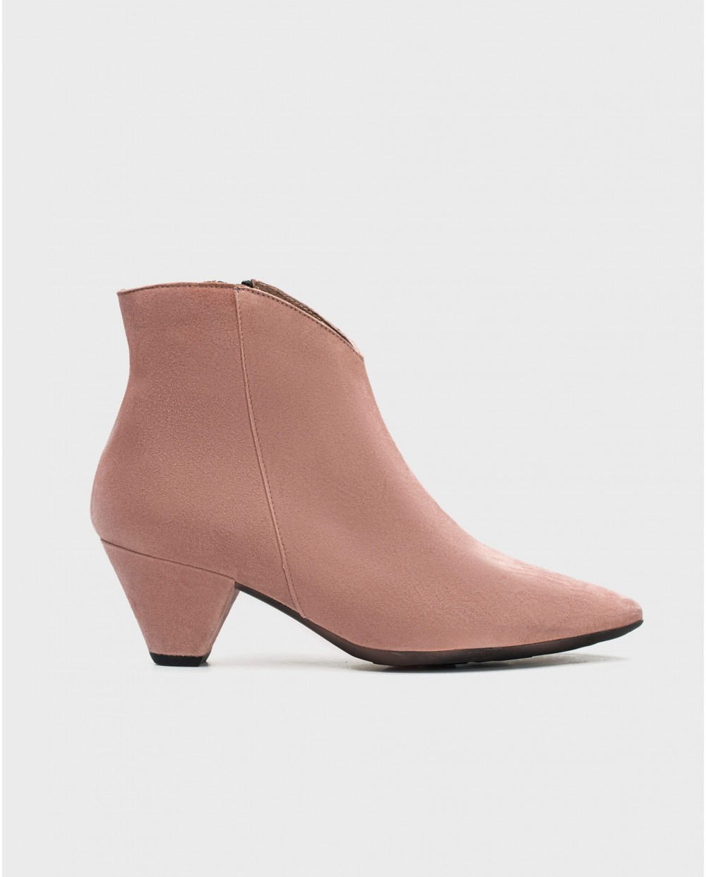 Wonders-Ankle Boots-Suede leather ankle boot with V cut