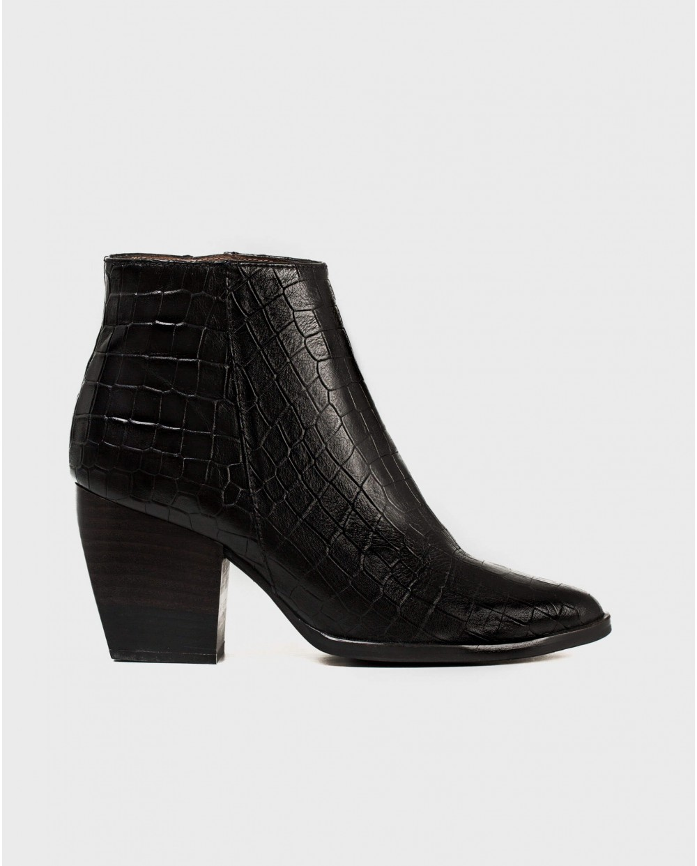 Wonders-Ankle Boots-mock croc leather ankle boot with a cowboy style heel