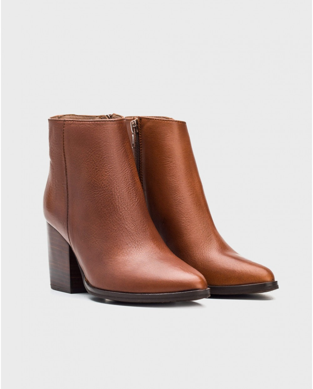 Wonders-Ankle Boots-Leather cowboy heeled ankle boot