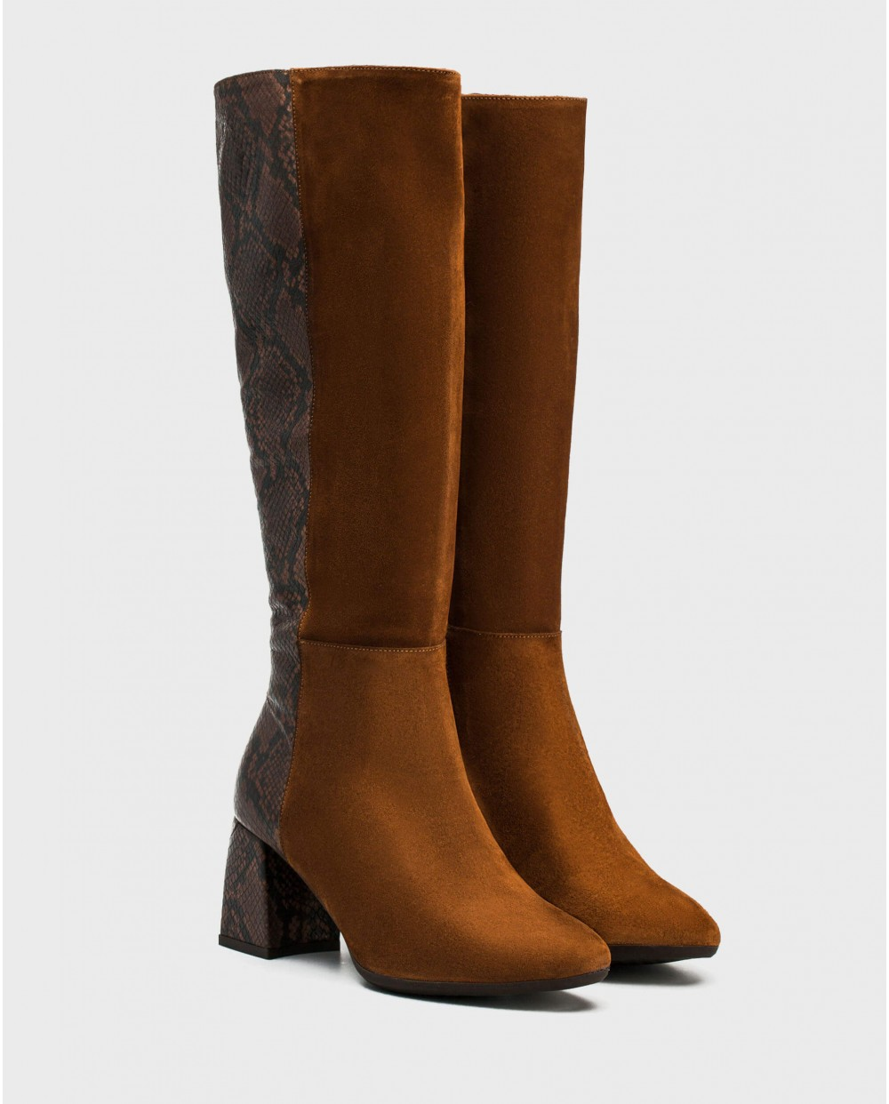 Wonders-Boots-Bi/leather boot with animal print