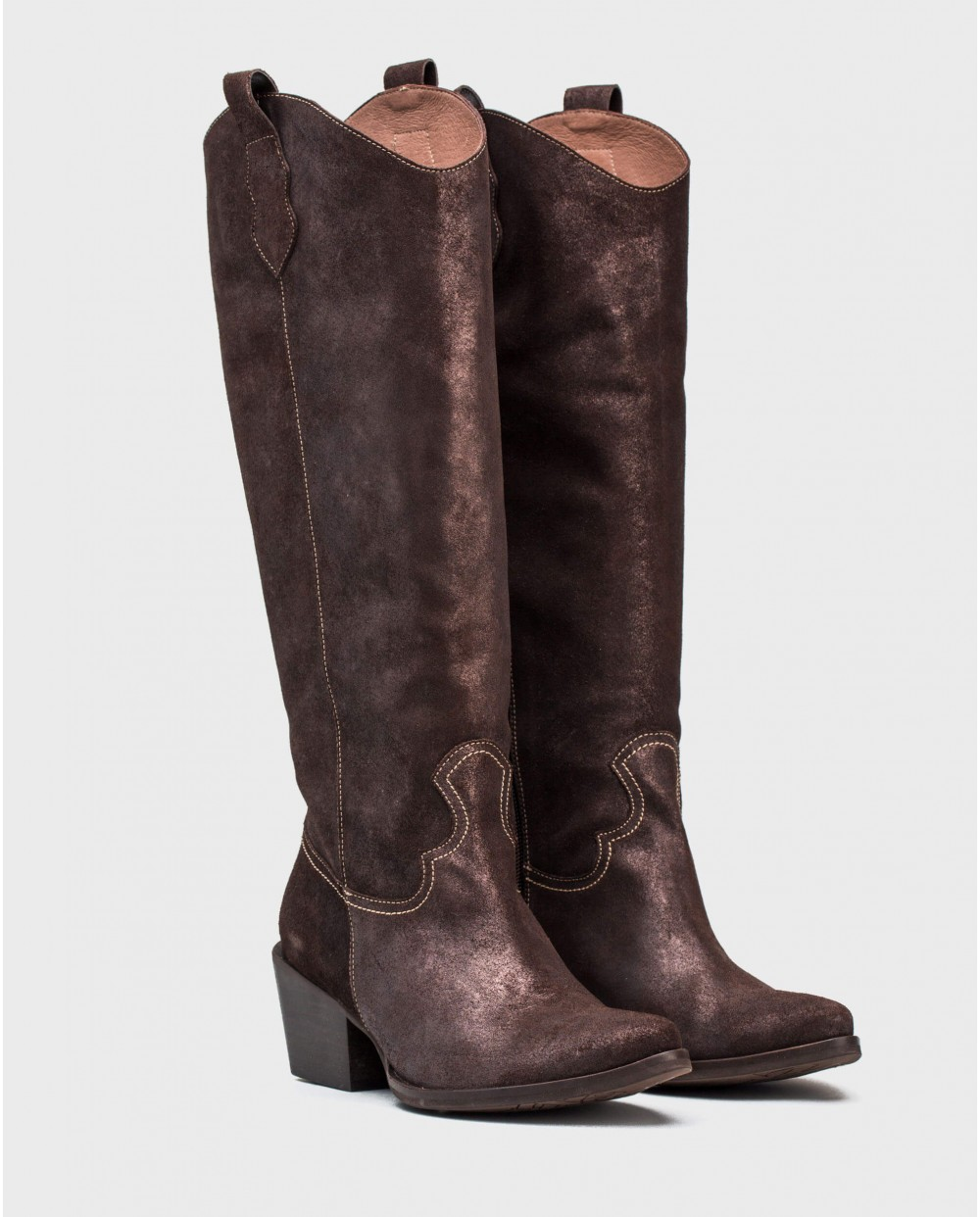 Wonders-Boots-Metallic leather cowboy boot