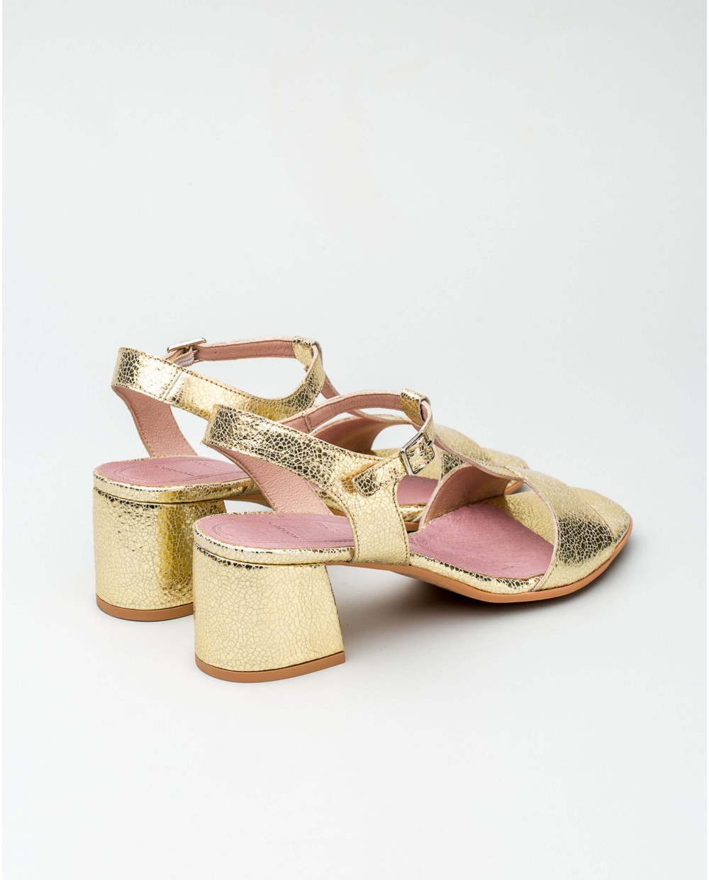 Wonders-Outlet Women-Metallic leather sandal with vertical strap