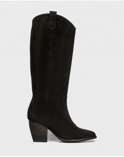 Wonders-Boots-Leather boot with cowboy heel