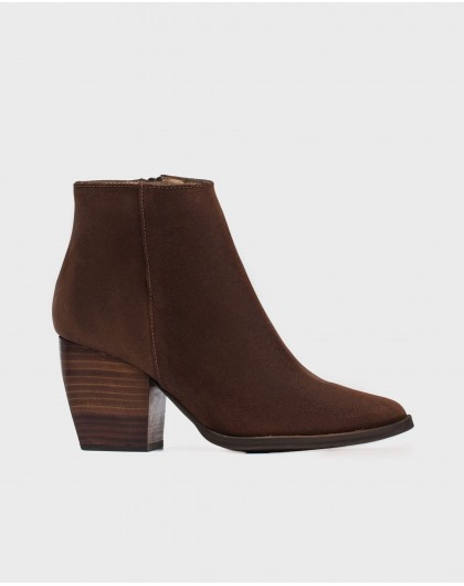Wonders-Ankle Boots-Suede leather ankle boot cowboy