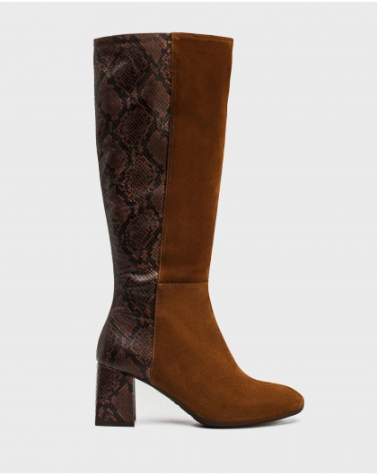 Wonders-Outlet-Bi-leather boot with animal print