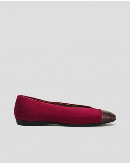 Wonders-Flat Shoes-Ballet pump with snake print toe cap