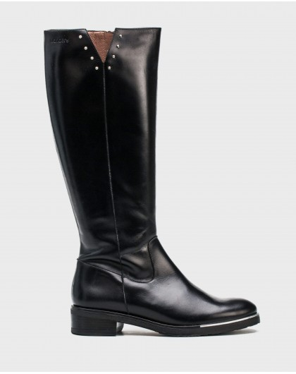 Wonders-Outlet-Leather boot with metallic detail