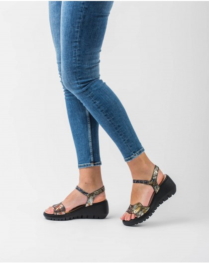Wonders-Outlet-Scale effect leather wedge sandal