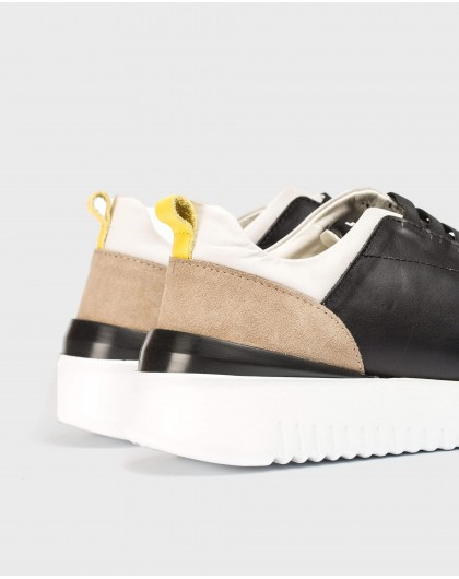 Wonders-Men-Leather sneakers with elastic