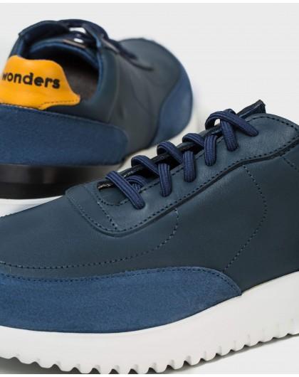 Wonders-Men-Leather sneaker with elastic closure